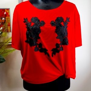 Love & Legend Sheer Red top